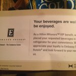 Used - Oily - HHonors VIP Welcome beverage card
