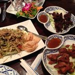 papaya salad, jerked beef and pork, and steamed seafood combo.