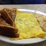 Farmers Omelette, Wheat Toast and Hash Browns!