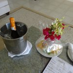 Welcome sparking wine and fruit platter.