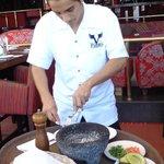 Table side guacamole preparation