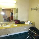 Vanity separate from toilet and tub