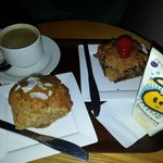 coffee, toffee & coconut muffin, chocolate & strawberry muffin