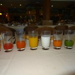 We tried all the different kinds of juices at the Buffet
