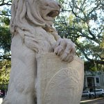 One of the lions at the base of the Oglethorpe monument.