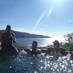 Enjoying time with friends in the 'cold' tub off of the Infinity Pool