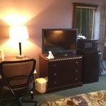 Refrigerator, microwave, TV, desk