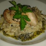 Over roasted chicken breast with white wine & mushroom linguine and pesto