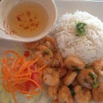 shrimp with rice dish