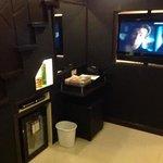 living room w flip wall LCD TV