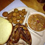 chicken quarter plate with fried okra and brunswick stew