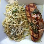 Grilled salmon and pasta