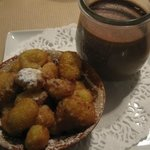 Little chocolate jug, choux pastry fritter