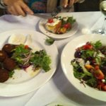 chickpea croquets and Greek salad