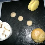 Baby cappucino, caramel macaroon and yummy filled choux