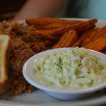 Sweet Potatoe fries, pulled pork, Cole Slaw