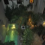 View into courtyard of hotel in evening
