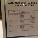 Extended shuttle schedule to strip during conference