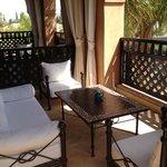 Fabulous balcony with pool view.