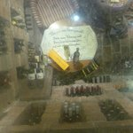 Looking down to the cellar through a glass floor