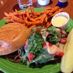 portobello mushroom sandwich with sweet potato fries