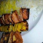 mixed chicken kebab with saffaron rice