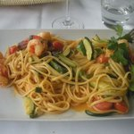Linguine with shrimps, zucchini in lobster sauce