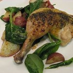 Not just Great Seafood! Half Roasted Rosemary Chicken with Sauteed Spinach and Roasted Potatoes