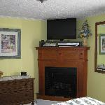 TV, gas fireplace - Emma Ruffner Rogers room