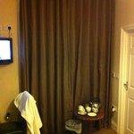 bedroom window with curtains. coffee/tea making facilities