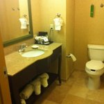 spacious bathroom area