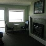 fireplace, seating area