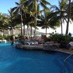 pool next to the beach overlooking diamond head