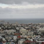 view from Reykjavik cathedral tower - hotel near church in top left.