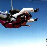 Video of a tandem skydive being filmed.