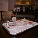 Dinning area and the birthday cake, a macaroon has already been consumed before this was taken