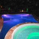 Pool and Hot Tub at Night