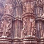 intricate stonework adorns the temple