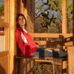 Katya relaxing on the deck of the cabin