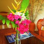 Fresh bamboo and flowers