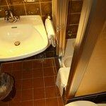 Proximity of sink and towel rail to shower door