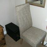 Chair and mini fridge