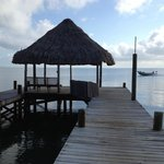 The pier overlooking the Carribean Sea at the Parrot Cove Lodge