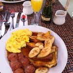 Kailua banana French toast with Portugese sausage