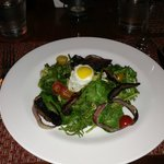 Baby Spinach Salad with Sunny Side up Quail Egg