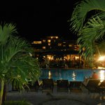 Evening view of the resort/pool from the boardwalk at the chocolate buffet on white night