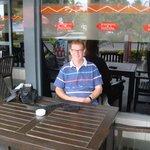 relaxing outside restaurant