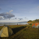 Camping on a sea kayak trip in an island in Titicaca lake