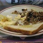 """Típico """"Gallo pinto"""" de desayuno en Denny's del hotel."""