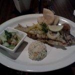 Fish, plantain puree and salad